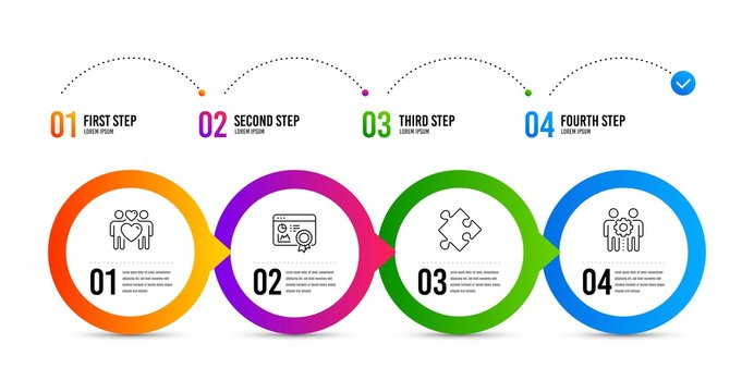 Strategy, Seo certificate and Love couple line icons set. Timeline infographic. Employees teamwork sign. Puzzle, Statistics, Lovers. Collaboration. Business set. Strategy icon. Vector