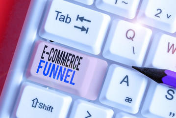 Conceptual hand writing showing E Commerce Funnel. Concept meaning a tool used to optimise the usability of the online assets