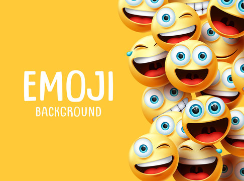 Emojis vector background. Funny smiley emoji background text with emoticon group face head in excited, surprise, smiling and happy expression in yellow empty space background. Vector illustration.