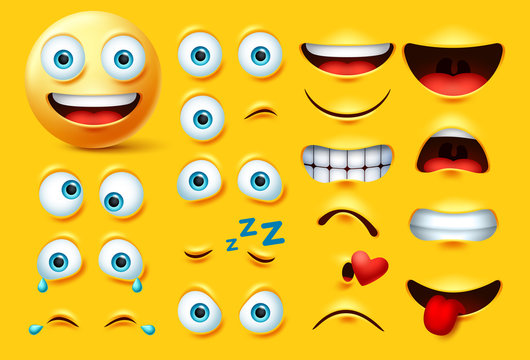Smileys emoticon character creation vector set. Smiley emoji face kit eyes and mouth in angry, crazy, crying, naughty, kissing and laughing expression isolated in yellow background.