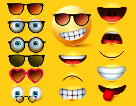 Smileys emoticons with sunglasses vector creation kit. Smiley emojis and emoticon head face kit eye and mouth in surprise, angry, sad, naughty and angry expression isolated in yellow background.
