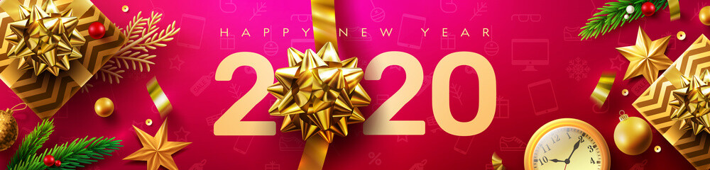 2020 Happy New Year Promotion Poster or banner with golden gift box and christmas decoration elements.Change or open to new year 2020 concept.Promotion and shopping template for New Year.Vector EPS10