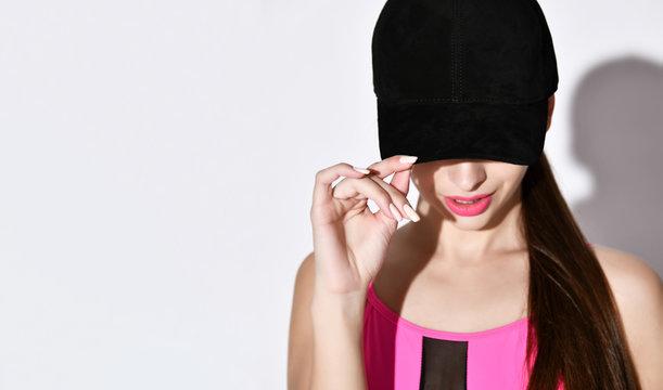 Sexy beautiful woman wearing baseball cap