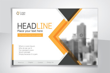 Horizontal vector background template for page cover, flyer, leaflet or advertising billboard