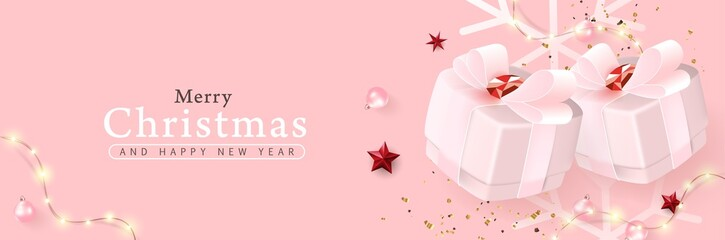 Merry Christmas and Happy New Year background banner.Vector illustration.