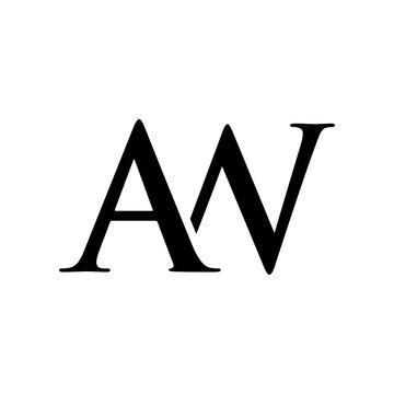 Initial aw alphabet logo design template vector
