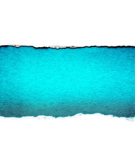 White paper with torn edges isolated with a vintage grunge light blue color paper background inside. Good paper texture