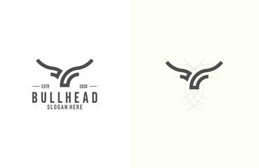 Simple and elegant bull head logo design illustration