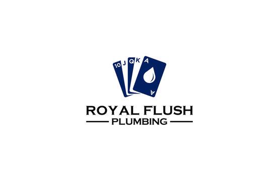 Royal flush plumbing logo design vector