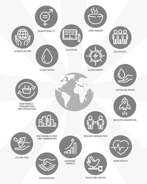 Sustainable Development Goals. Linear style icons