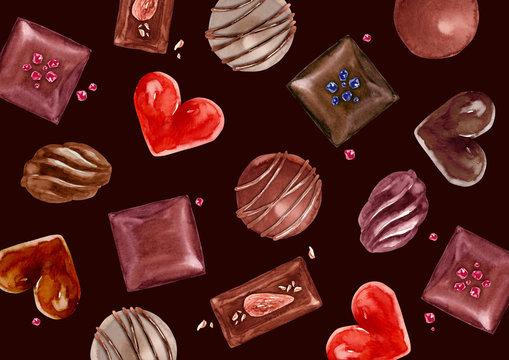 バレンタイン チョコレート 背景 テキスタイル 水彩 イラスト