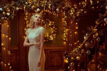 blonde in beautiful Christmas interior