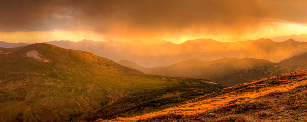 Golden Hour Storm over the Never Summer Mountains