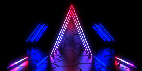 3D abstract background with neon lights . 3d illustration