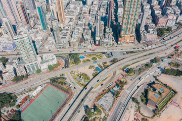 Highway in Residential are, kowloon, Hong Kong, aerial view