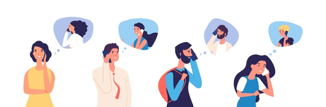 People talking phone. Men, women, teenagers calling by telephone. Flat communication and conversation with smartphone vector characters. Phone conversation and communication illustration