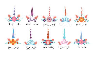 Custom blinds child's with your photo Unicorn face. Different cute funny unicorns heads with magic horn and rainbow flower wreath and eyelashes. Colorful kids vector set. Illustration unicorn magic, head magical