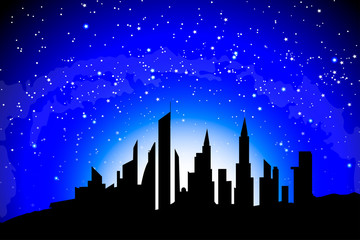 silhouette of a big city against the background of radiance and starry sky,