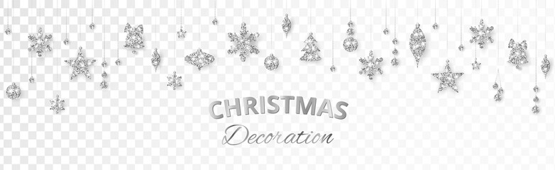 Wall Mural - Vector Christmas decoration. Silver ornaments on white background.