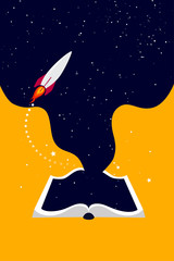 universe and the rocket inside the book, concept of education and training. Open book on orange background.