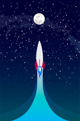 moon exploration, rocket flies up, Vector Concept. Spaceship flying