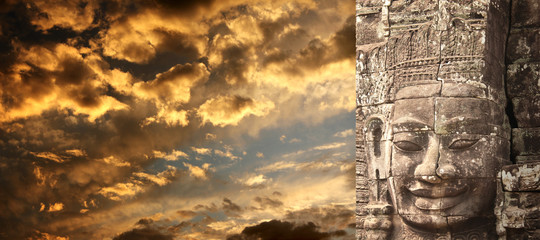 Canvas Prints Place of worship Giant stone face in Prasat Bayon Temple, Angkor Wat, Cambodia