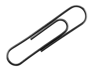 Metal paper clip isolated on white background close-up.