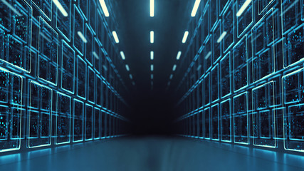 3D Rendering of data center room with abstract data servers and glowing led binary, abstract network and ceiling lights. For Big data, machine learning, artificial intelligence concept background.
