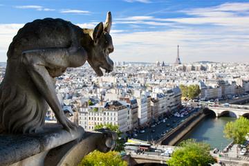 パリ市内を見つめるガーゴイル