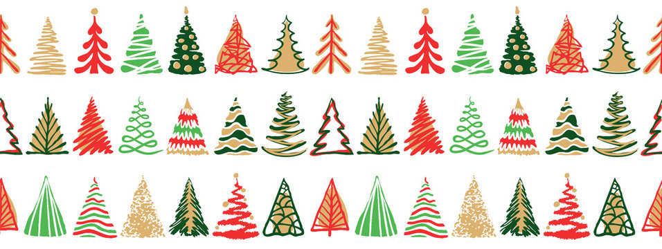 Hand drawn doodle christmas tree seamless border pattern. Red green color holiday style. New year vector symbol set. Simple artistic line stroke. Silhouette decor icons isolated on white background