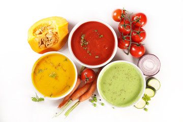Wall Mural - vegetable soup and ingredient isolated on white background