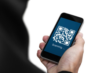 QR code scanning payment and verification. Businessman holding mobile smart phone scan QR code on screen