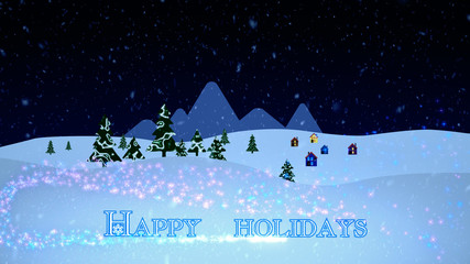 Christmas And New Year Background. Heavy Snow Falling Over A Winter Landscape With Pine Trees And Houses, Falling Star With  Holiday Wishes