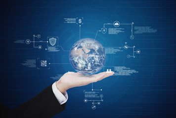 Hand holding globe with online data technology. Global business and big data concept. Element of this image are furnished by NASA