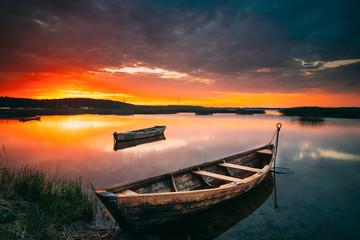 Braslaw Or Braslau, Vitebsk Voblast, Belarus. Wooden Rowing Fishing Boats In Beautiful Summer Sunset On The Dryvyaty Lake. This Is The Largest Lake Of Braslav Lakes. Typical Nature Of Belarus Wall mural