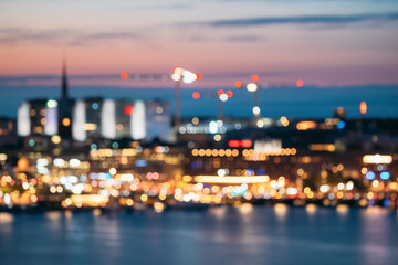 Fotomurales - Stockholm, Sweden. Night Skyline Abstract Boke Bokeh Background. Design Backdrop. Klara Church In Night Lighting