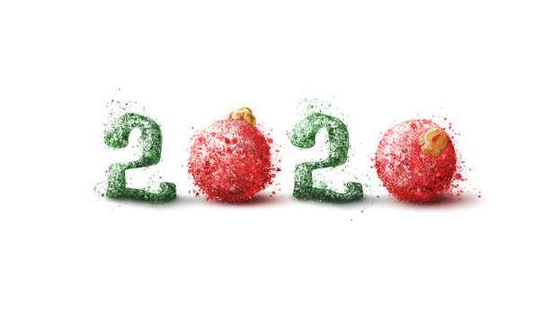 Hand drawn 2020 number, with red and green colors and splash effect. Creative New Year concept, on white background.