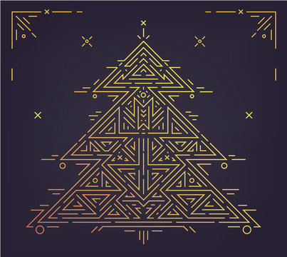Vector linear christmas, new year poster, card, party invitation. Art deco golden christmas tree