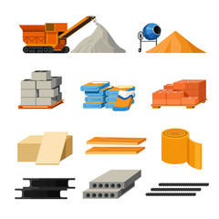Materials for building and truck or concrete mixer isolated icons
