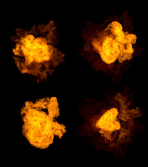 4 different pictures of fire explosion - high detail bomb blast concept isolated on black, 3D illustration of objects