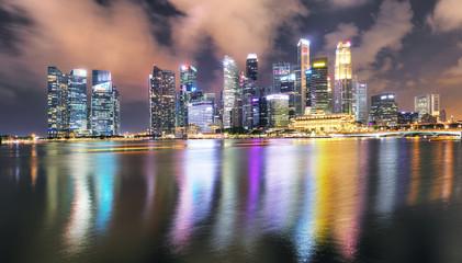 Singapore panorama skyline at night, Marina bay