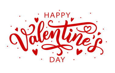 Happy Valentines Day greeting card. Calligraphic design for print cards, banner, poster Hand drawn text lettering for Valentines Day with hearts shape Vector illustration isolated on white background.