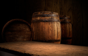 Old wooden barrel on a brown background Fototapete
