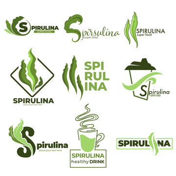 Superfood or detox nutrition, spirulina algae isolated icons