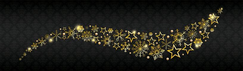 Golden Christmas Snowflakes Stardust Ornaments
