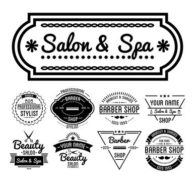 Hairdresser or barber services, salon and barbershop isolated icons
