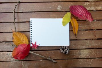 カラフルな秋の葉と白紙のノート