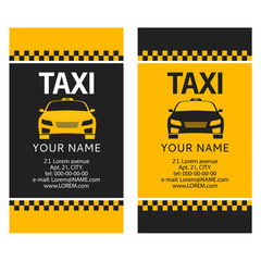 Poster New York TAXI Business card of the taxi. Service of a call of the cab car front view. Flat illustration vector.