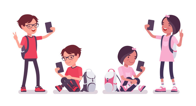 School boy, girl with gadgets, smartphone selfie. Cute small children with rucksack, active young friend kids, smart elementary pupils age between 7, 9 year old. Vector flat style cartoon illustration