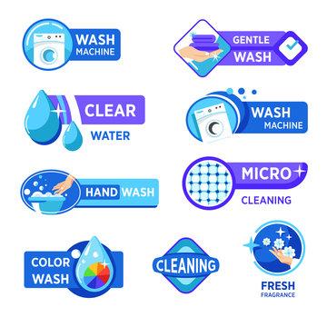 Washing machine and laundry isolated icons, wash powder properties